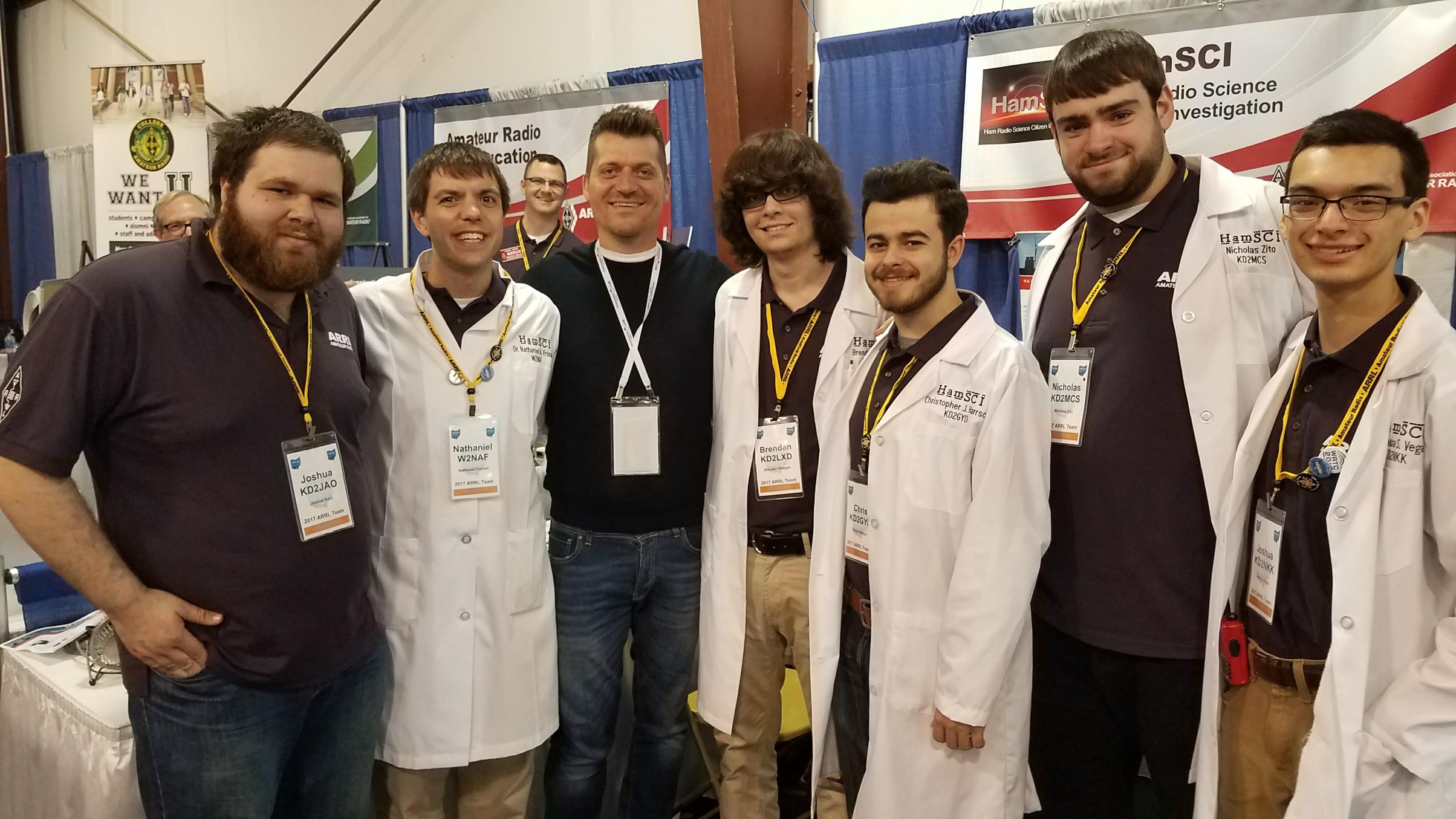 Josh Katz KD2JAO, Nathaniel Frissell W2NAF, Rok Mear (Red Pitaya CEO), Brendan Keogan KD2LXD, Chris Harrsch KD2GYD, Nick Zito KD2MCS, and Josh Vega KD2NKK