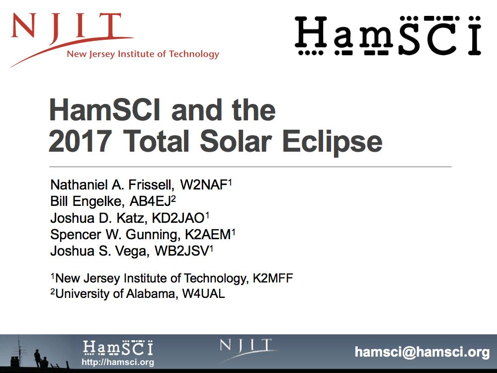 HamSCI and the 2017 Total Solar Eclipse